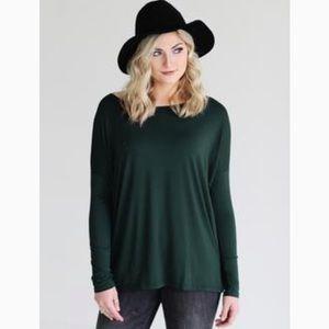 Piko top- dark green long sleeve